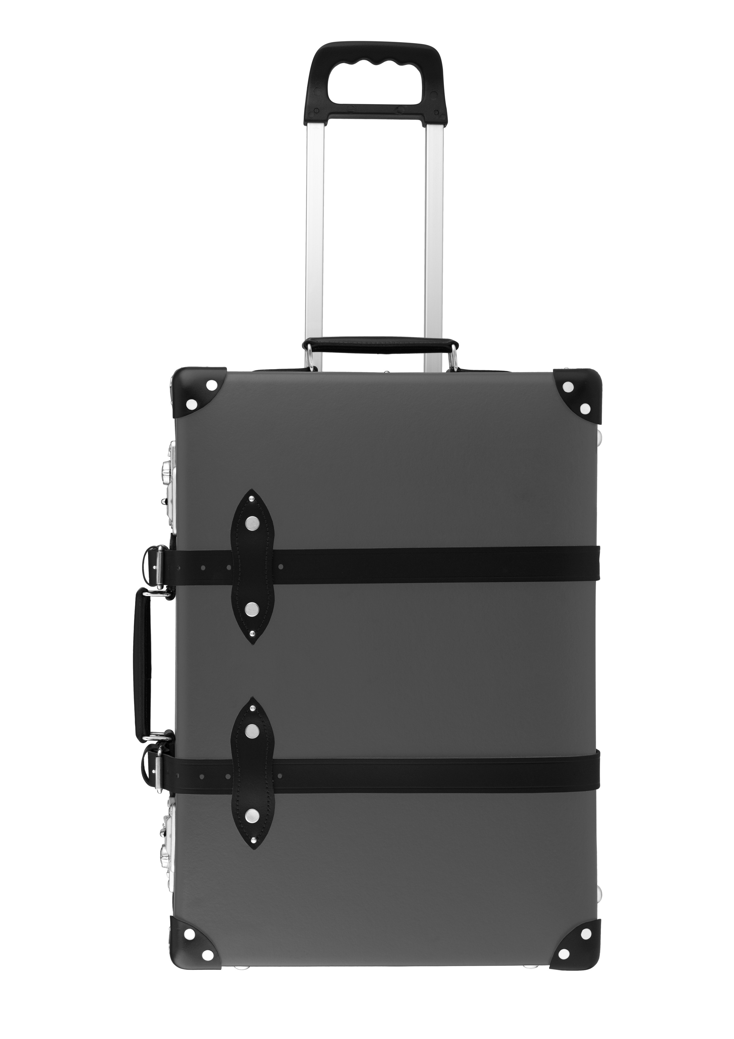 Globe-Trotter 'Centenary' Collection carry on in Grey with Black leather trim and straps. From $550