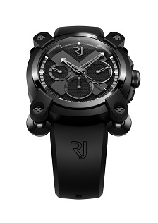 Romain Jerome 'Moon Invader' automatic watch in Black Speed Metal, featuring 'Moon Silver'. $12,560