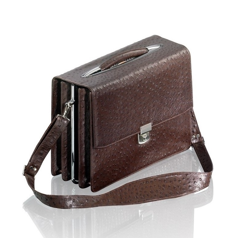 HENK Gentleman's Briefcase in brown 'Ostrich'. Made to order. From $7,300