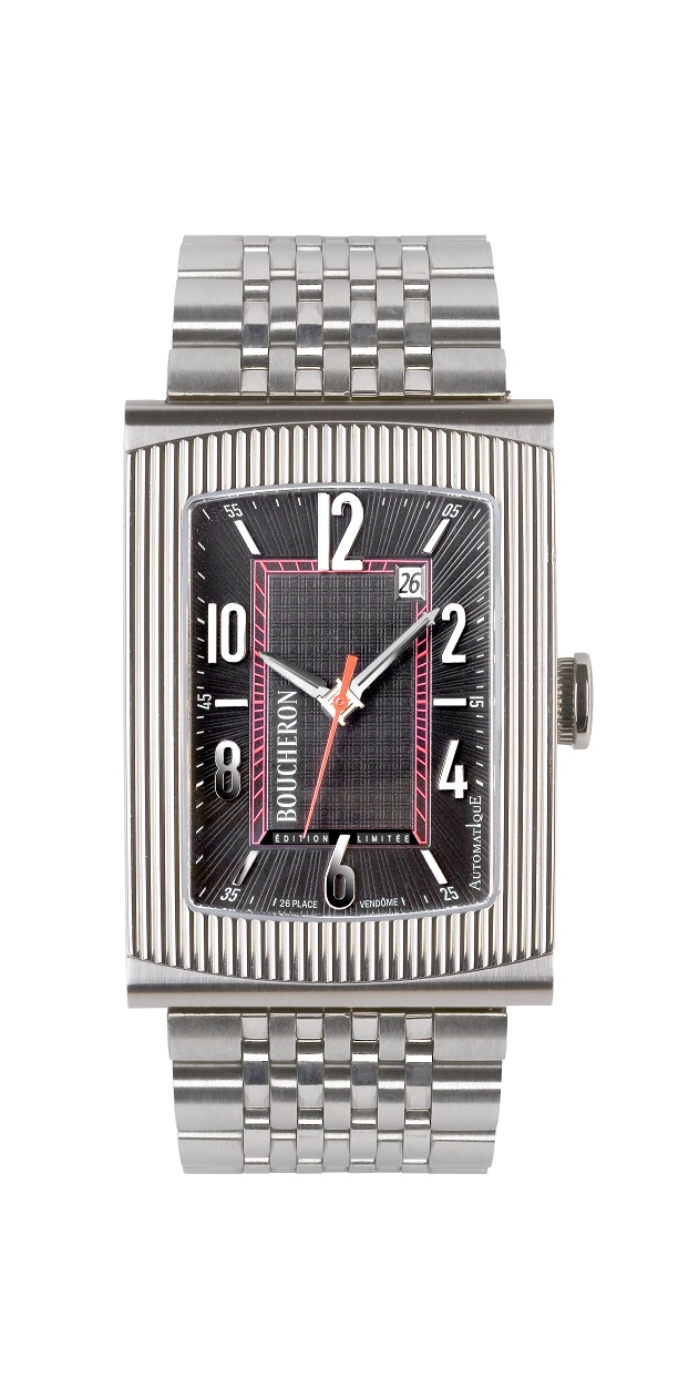Boucheron Limited Edition 'Reflet' XL watch in stainless steel with interchangeable band. From $5,250