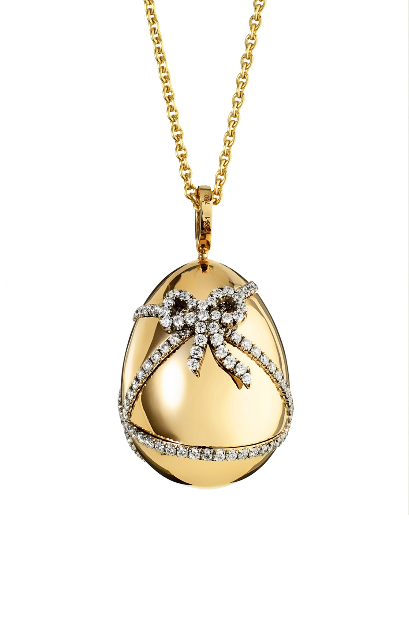 Faberge 'Oeuf Cadeau' egg pendant with 1.04cts of white diamonds. Available in pink and yellow gold. $14,825