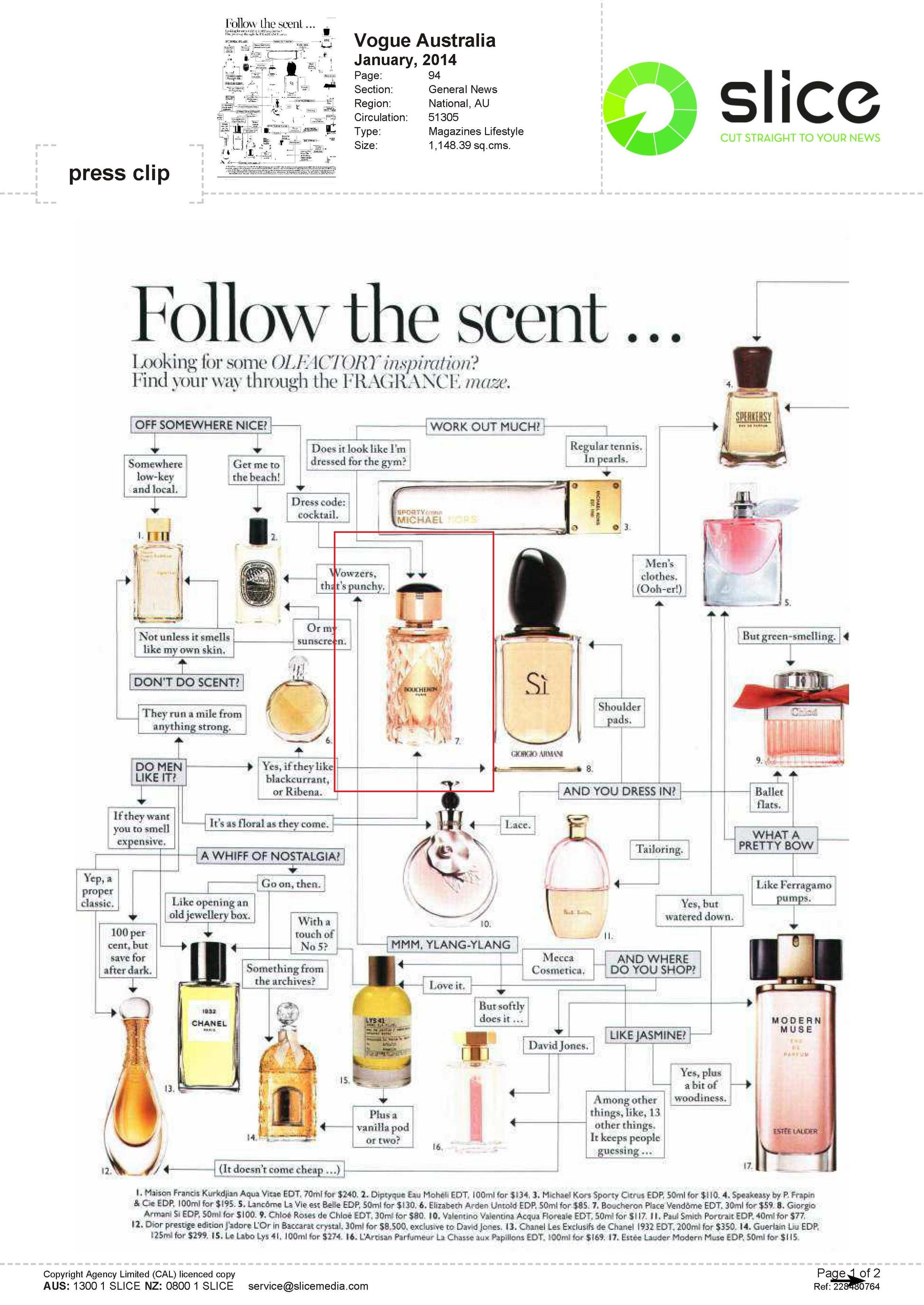 Boucheron perfume in Vogue (Australia) January 2014