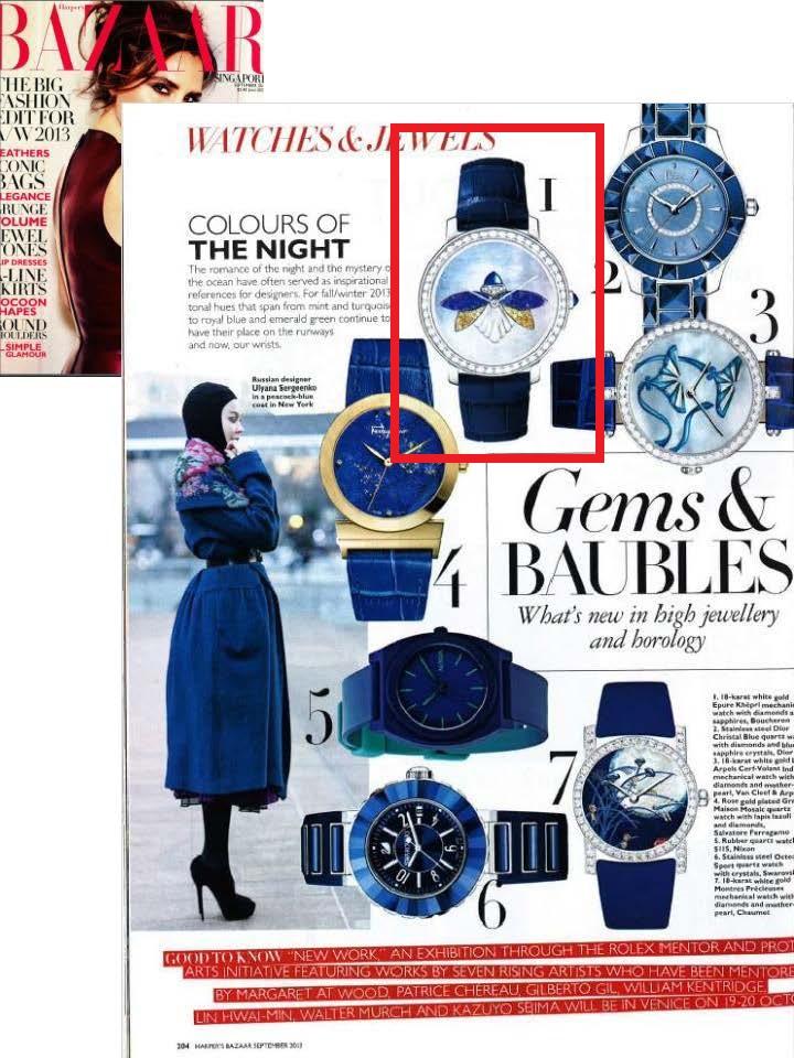 Epure watch in Harpers Bazaar (Singapore) September 2013