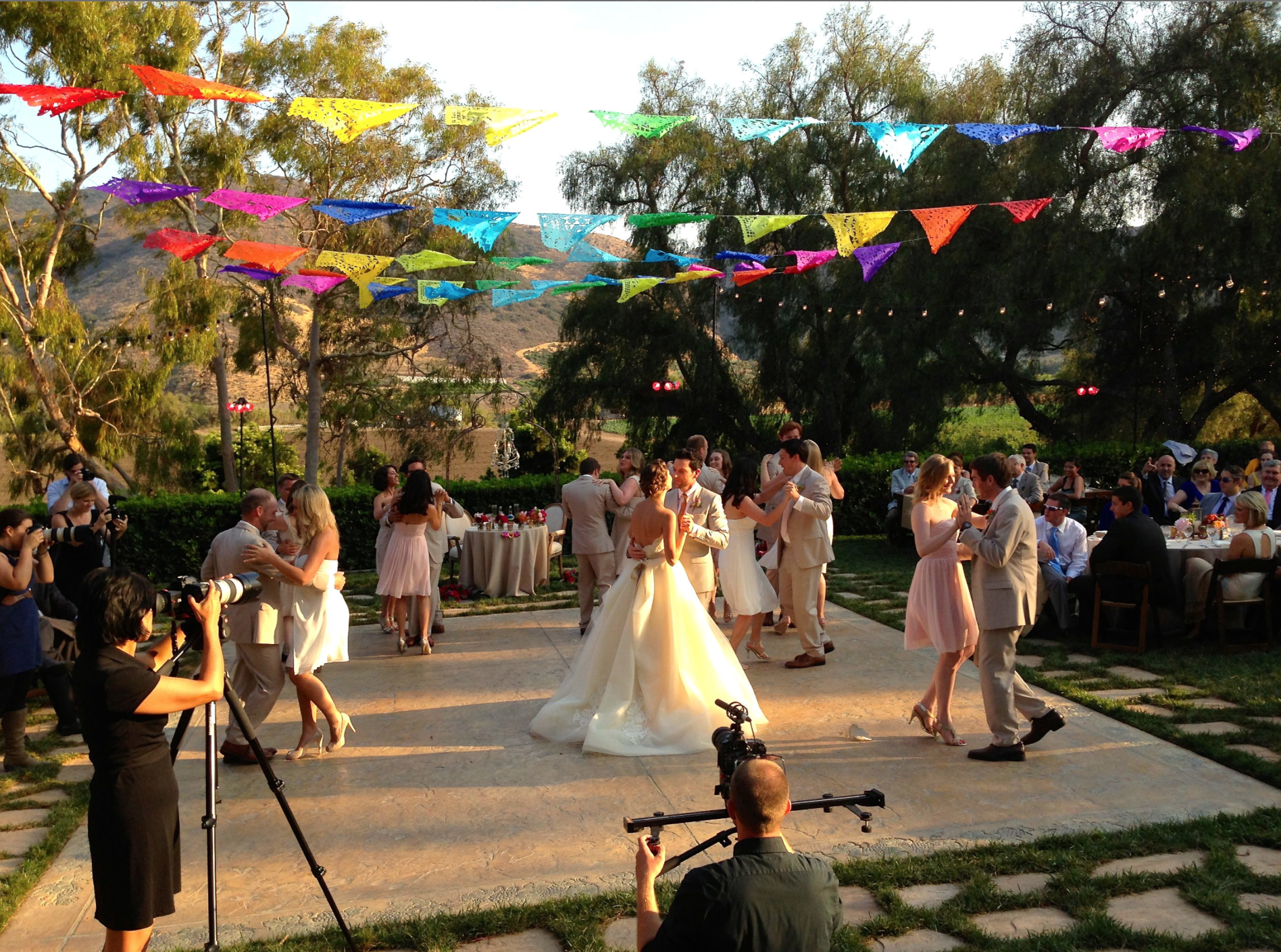 Laura and Chris Mann did a gorgeous rumba and then had their whole wedding party join in for a sexy salsa!