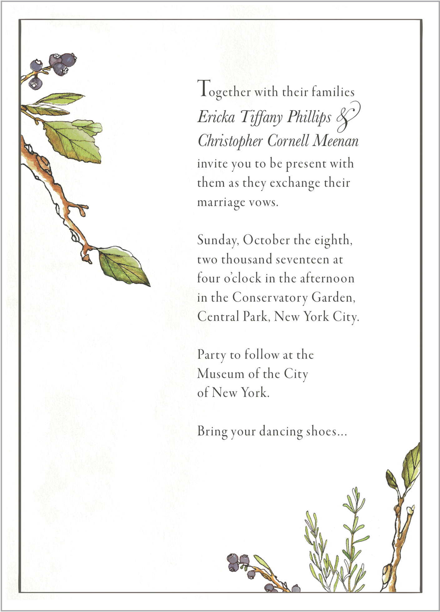 ericka + christopher'smarriage ceremony,october 2017 - At Ericka and Chris's marriage ceremony and relationship party, the couple wished to share their love of the New York City neighborhood they together called home.In line with the Buddhist ceremony planned in Central Park, I incorporated soft, natural elements and herbal imagery to evoke the spirt of Ericka and Chris's event.Left: Invitation