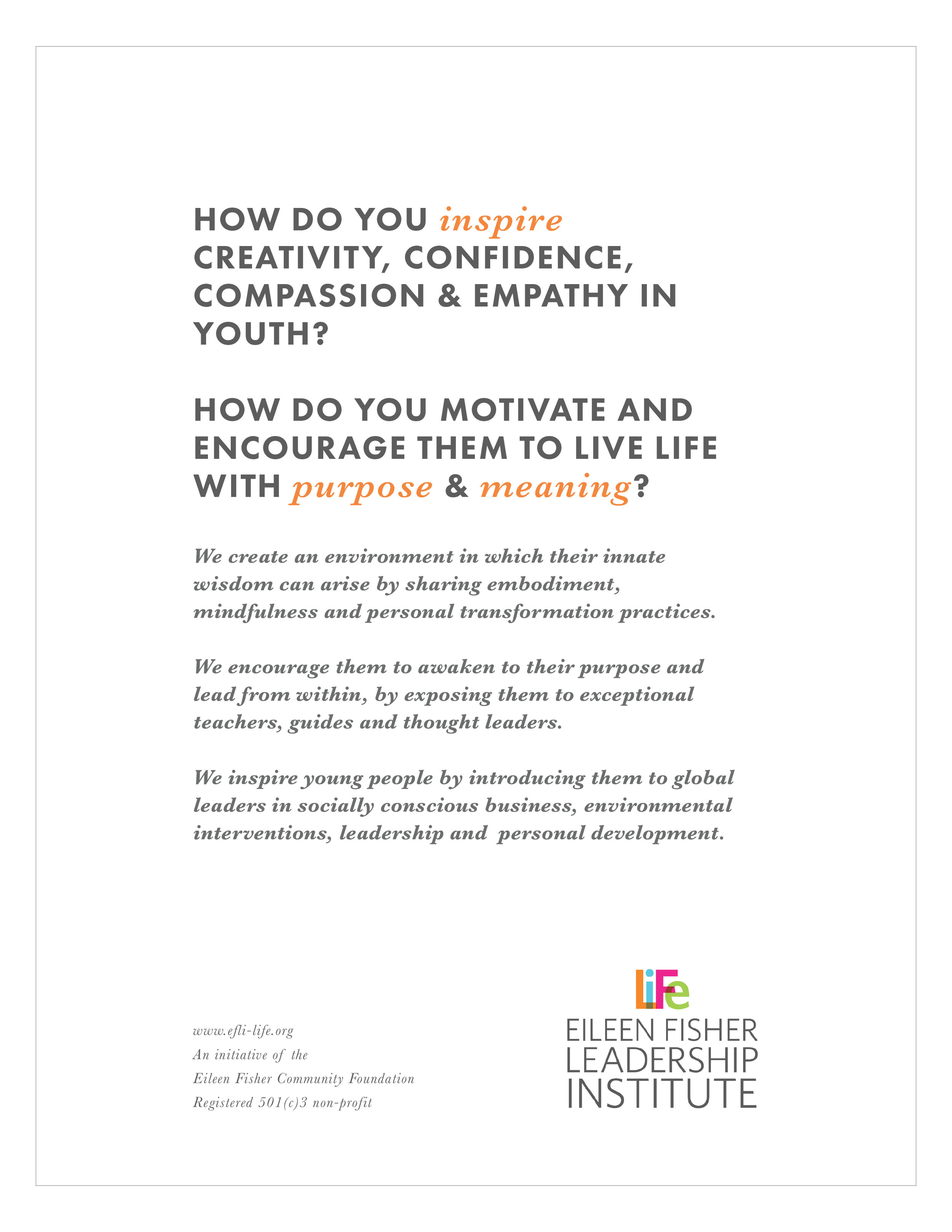 case for support, november 2016 - Sample pages from the Eileen Fisher Leadership Institute's 2016 Case for Support. Shared with potential donors and key stakeholders.LeFT: Cover Page