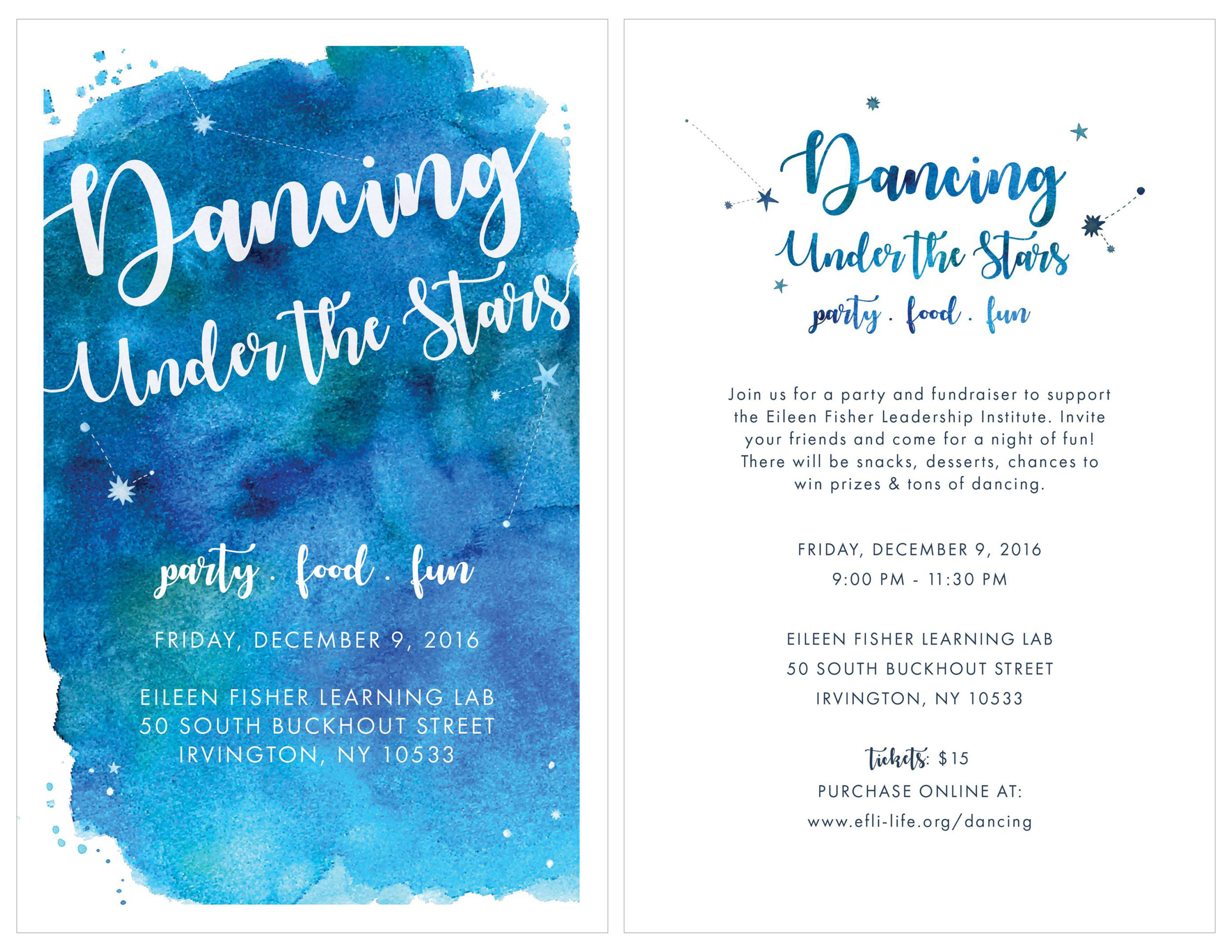 youth after party invitation,december 2016 - To complement the design of the Gratitude Gala and its Starry Nighttheme, I brought in brighter colors and playful fonts to appeal to teenagers for an invitation to a post-gala youth after party.LEFT: Postcard FrontRight: Postcard Back