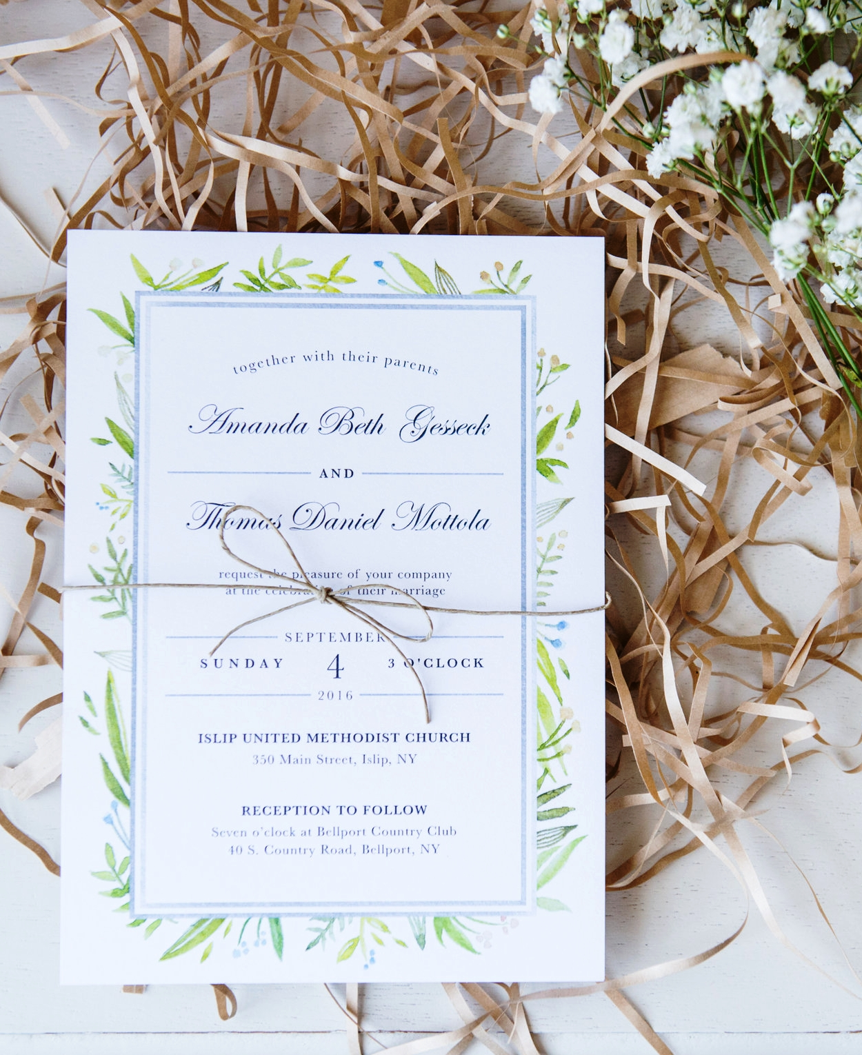 amanda + tom's wedding,august 2015 - Held in Long Island, NY, Amanda and Tom Mottola wanted handcrafted elements to support the experience of their waterfront wedding. From watercolor invitations to hand painted signs at the event, I worked closely with the couple to bring their vision to life.Photos by Lennon Photo.Left: Invitation front