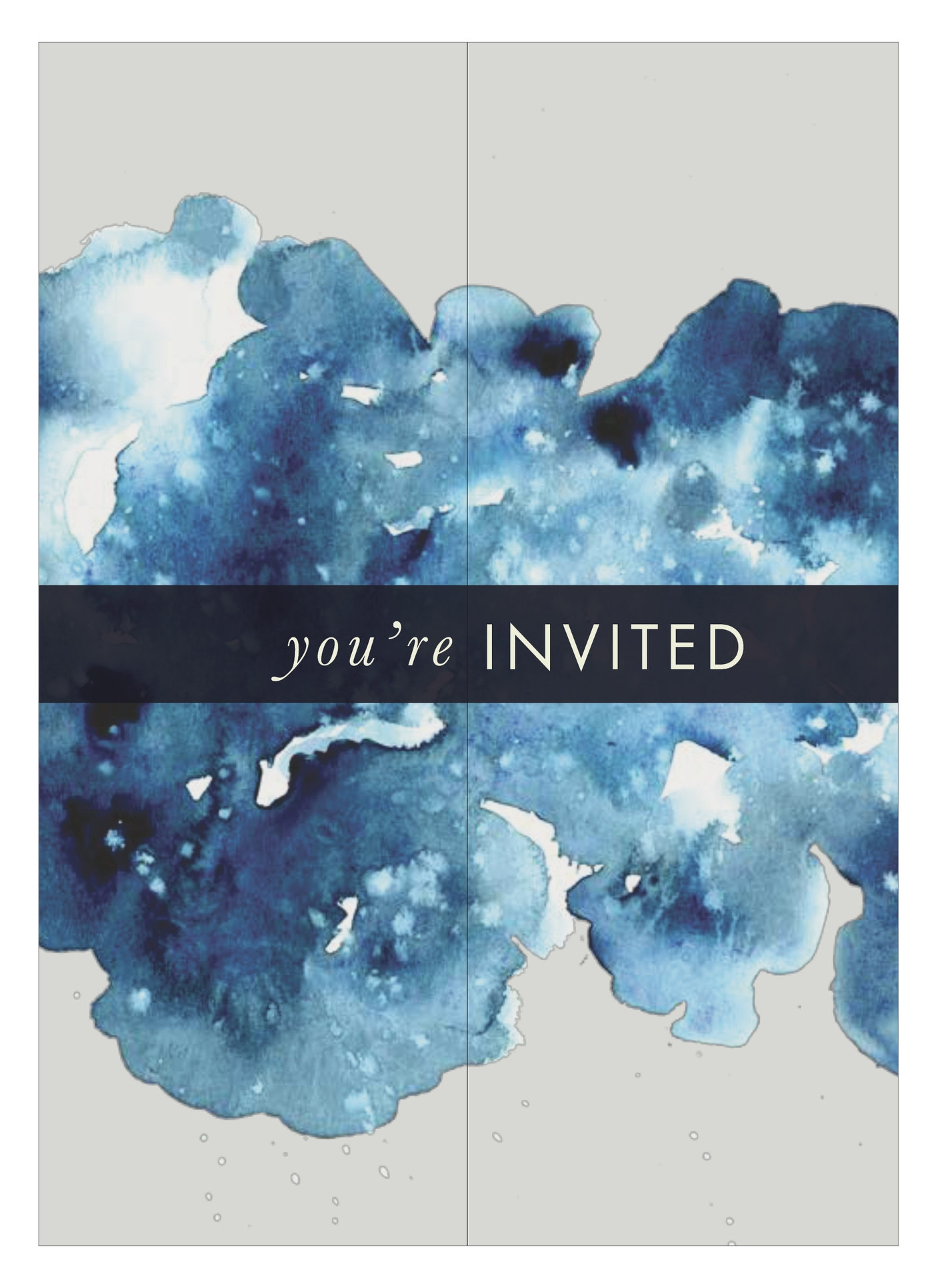eileen fisher communityfoundation gratitude gala,december 2016 - Working with a team of Youth Ambassadors from the Eileen Fisher Leadership Institute, I designed print materials and supported overall event aesthetics for the Eileen Fisher Community Foundation's annual Gratitude Gala. Supporting the Starry Nighttheme, bold watercolors in dark blues and golds added to the ethereal atmosphere, while balancing EILEEN FISHER's timeless designs and effortless simplicity.Photos by Michael Chung.RIght: Invitation front