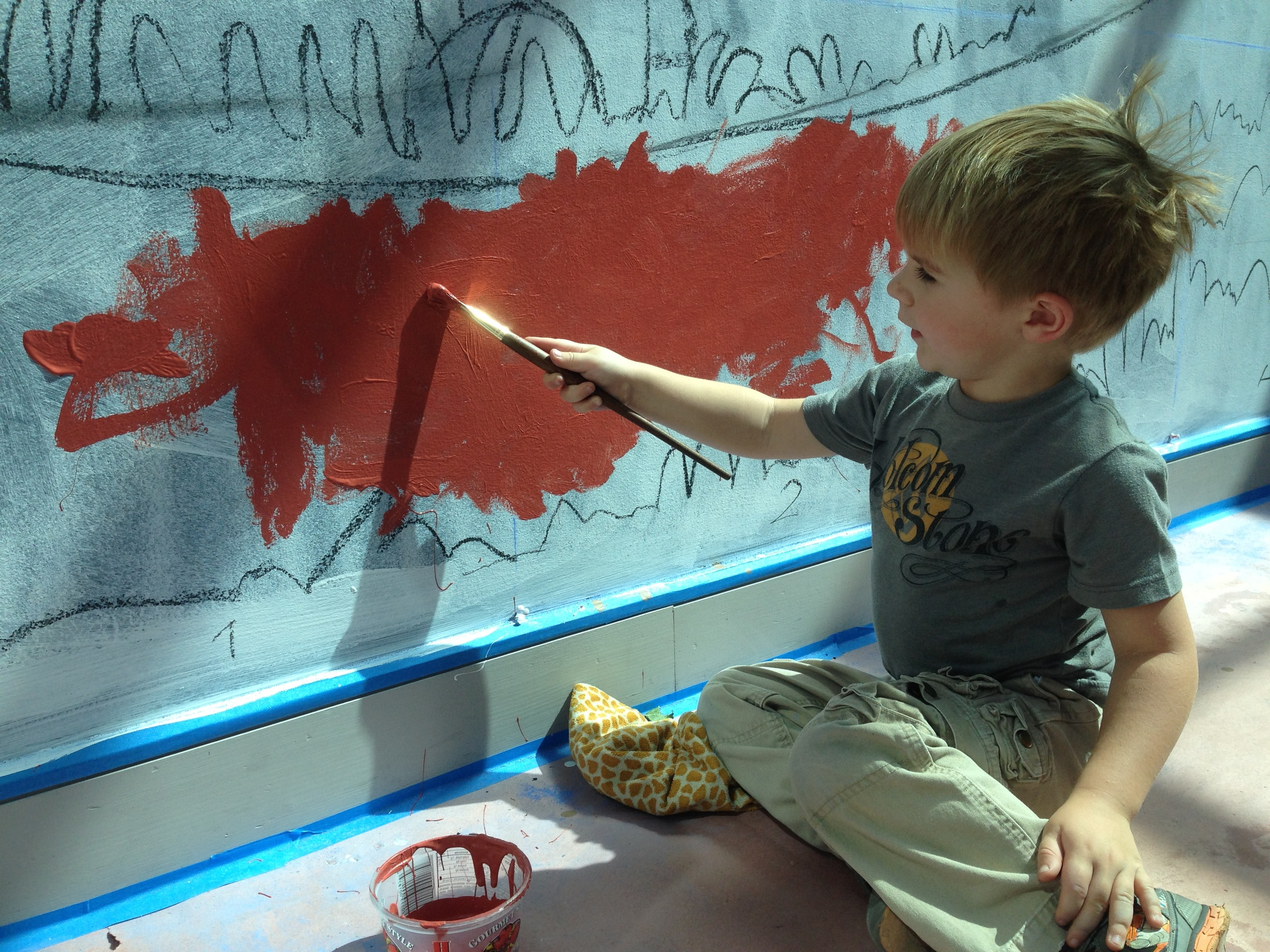 dante, 4, painting the path