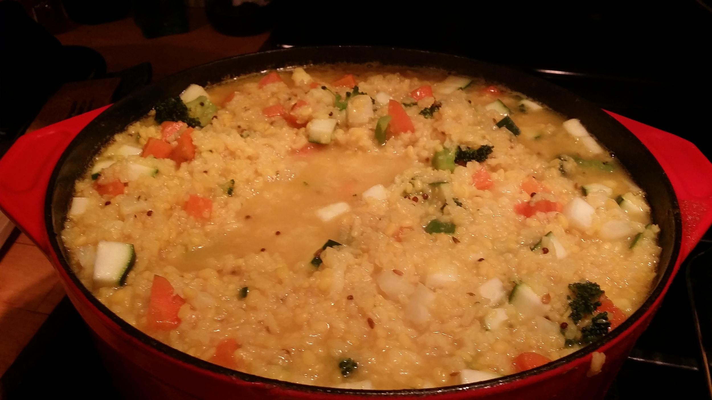 kitchari with zucchini, broccoli, cauliflower and carrots
