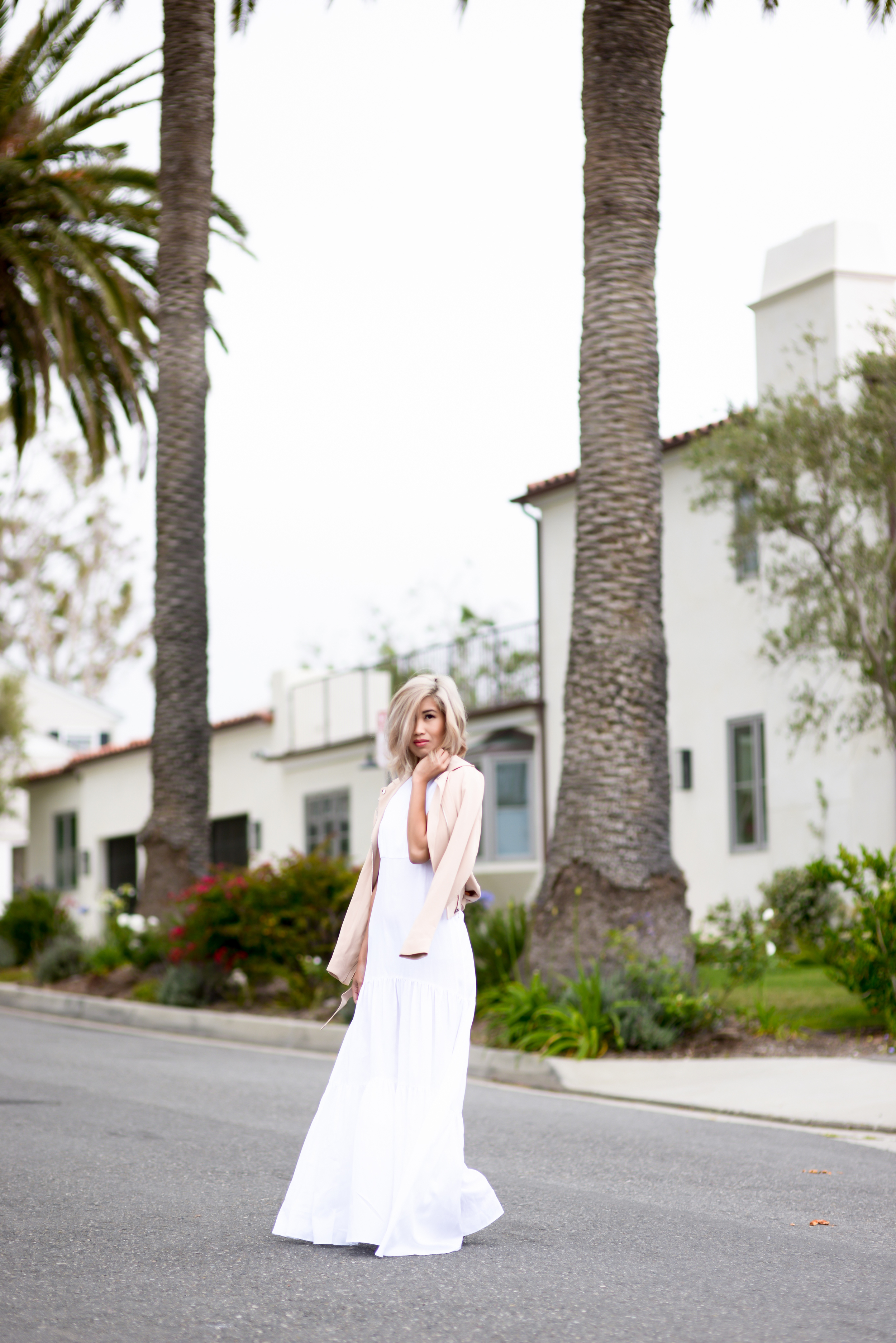 L'Agence Taila Tiered Racerback Maxi Dress White Kenneth Cole Jacket By Lisa Linh Lisa Linh