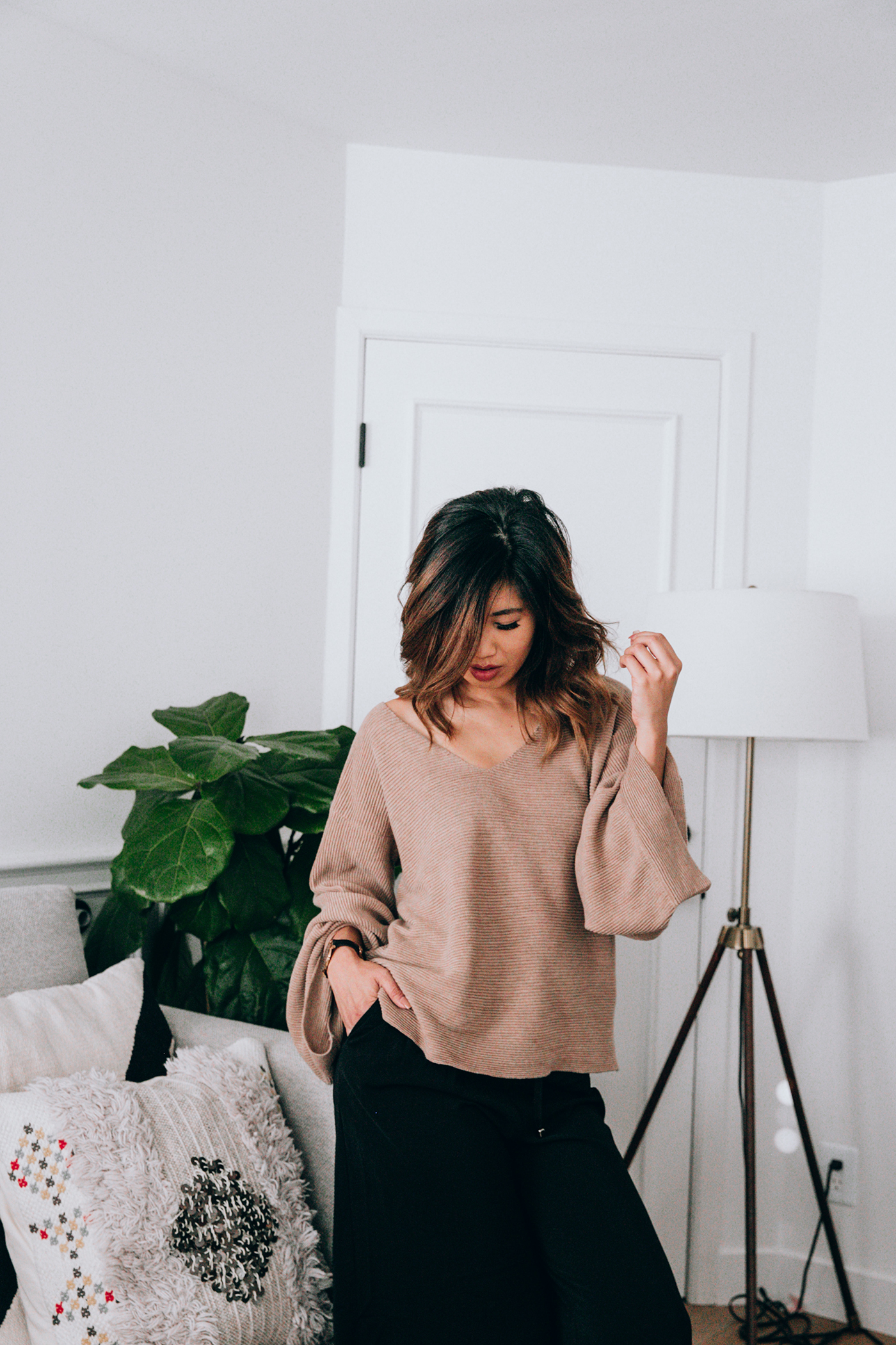 2020AVE Rib Knit Extreme Sleeves Top