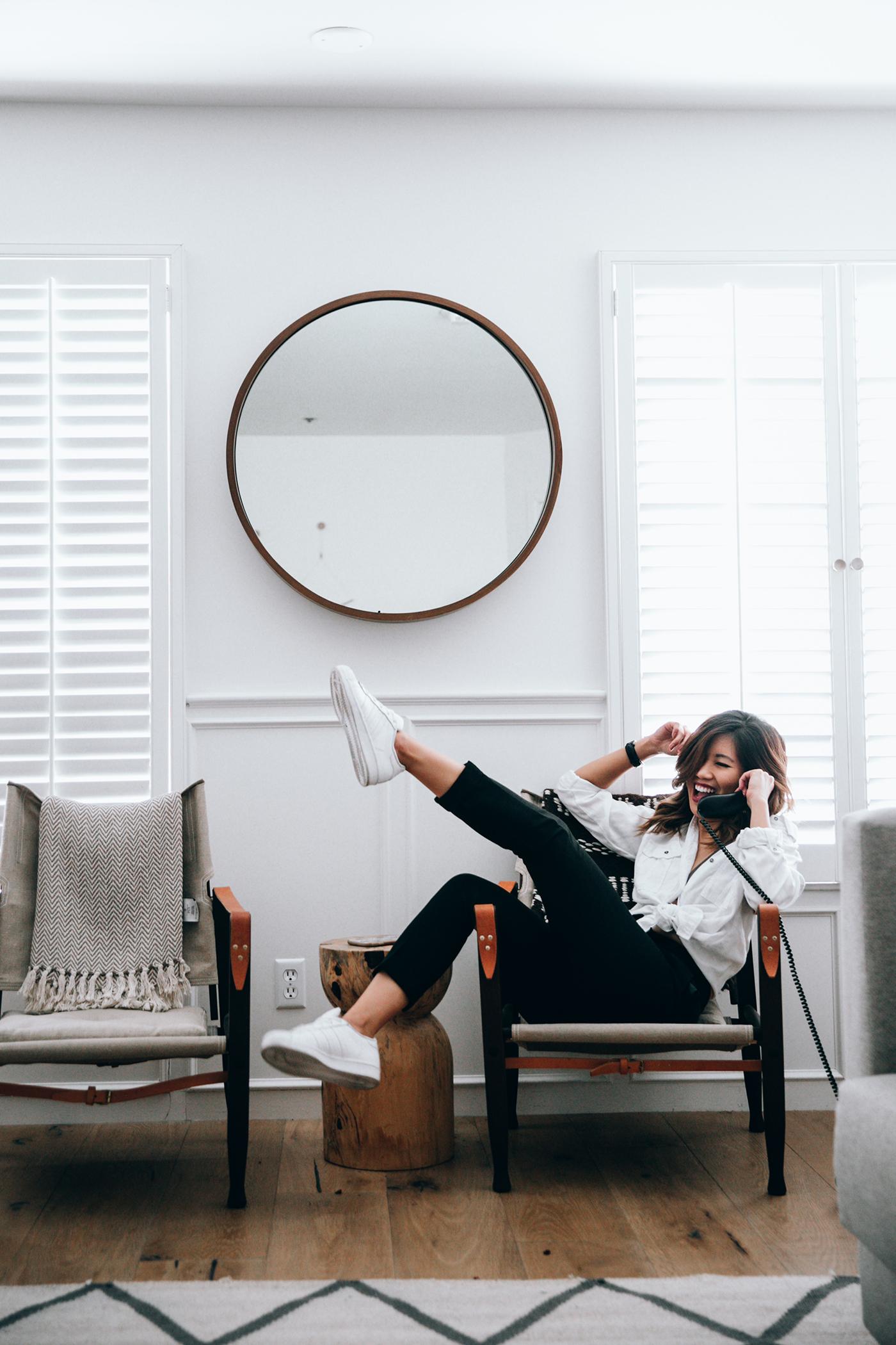 White Dress Shirt  |  High Waisted Pants  |  Adidas Superstars