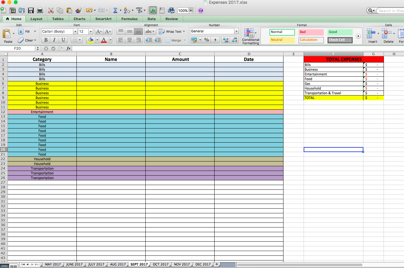 Example of my budget spreadsheet.