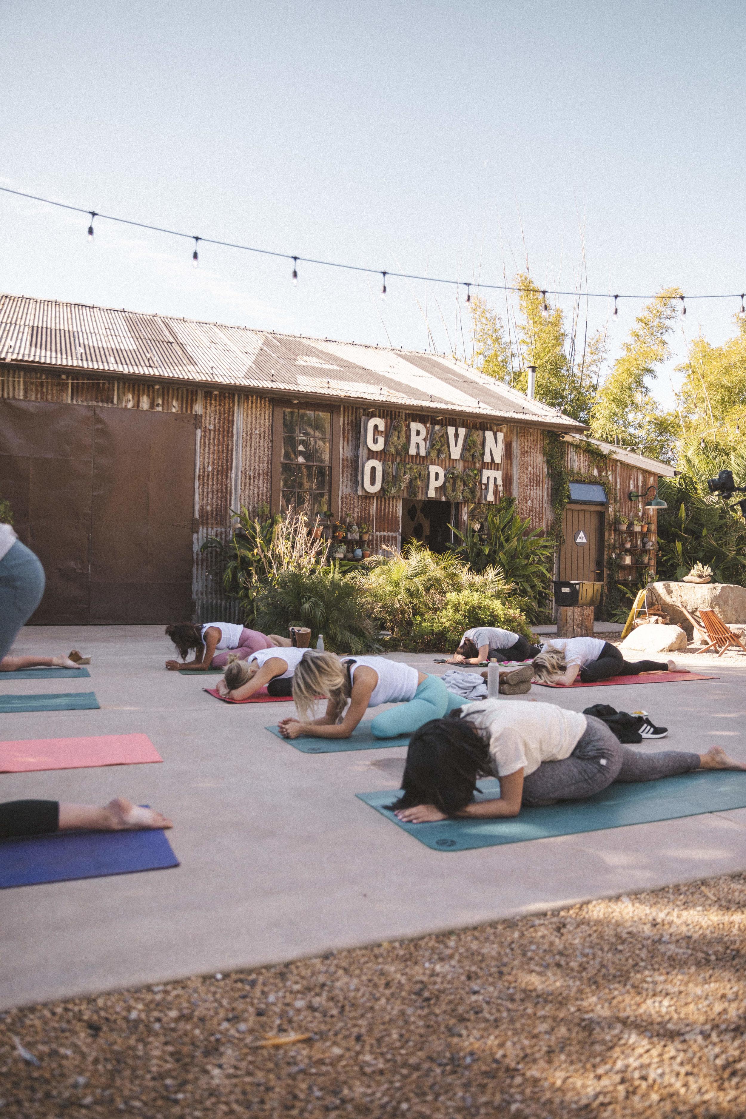 Morning yoga at Caravan Outpost