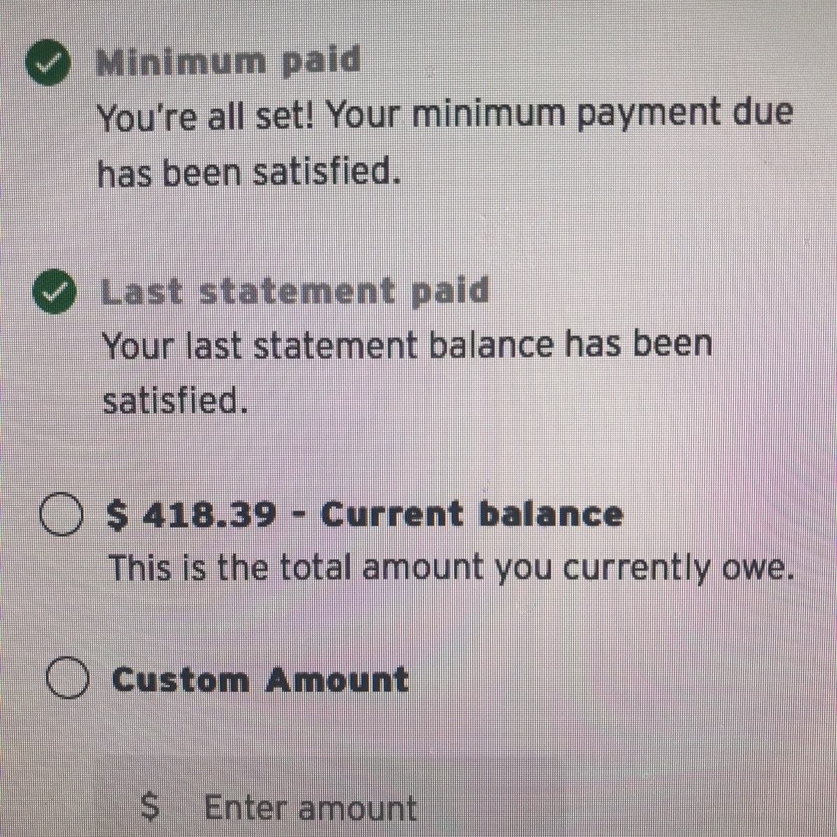 If you need to make any other additional charges on the card, but do not have the budget to pay more than what your current statement balance is, then wait until after the closing date.