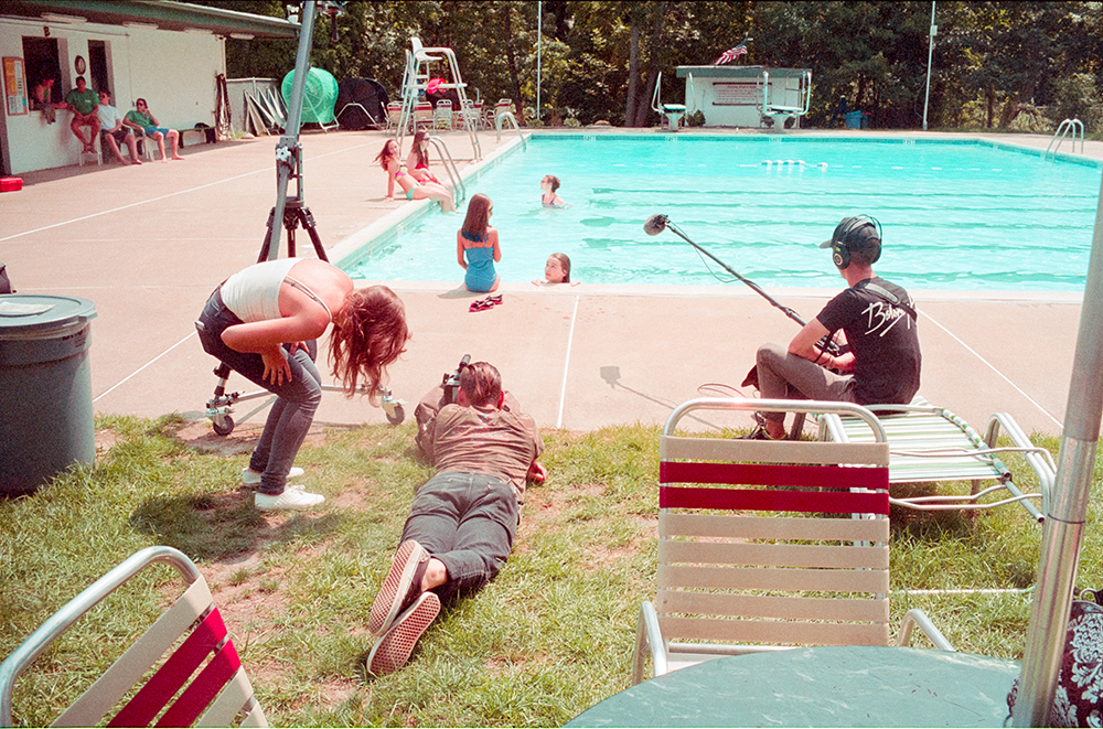 Director Chelsea Lupkin, Cinematographer Michael Russo and Sound Operator Ryan Hansen getting ready to film the last scene at our pool location. Photo by Jimmy O'Donnell.