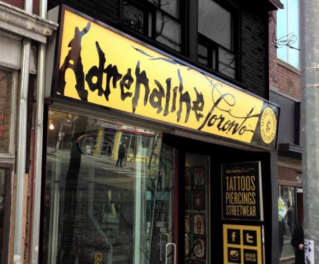 Adrenaline Toronto tattoo and body piercing parlour shop