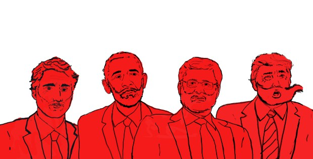 The bearded Justin Trudeau, Barack Obama, Stephen Harper and Donald Trump.