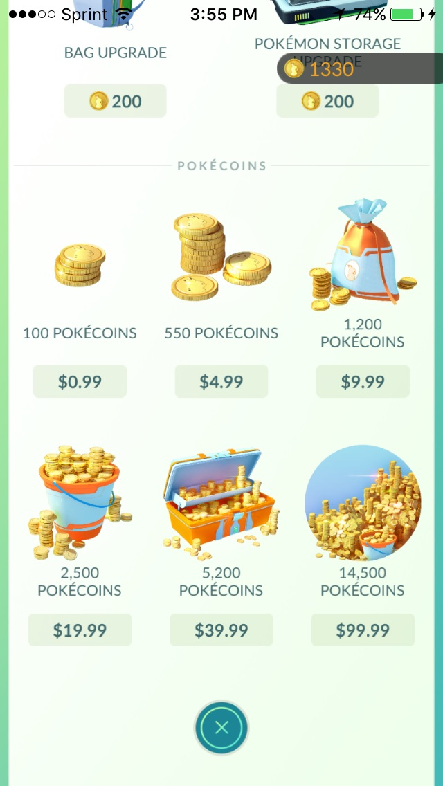 Last Page of the Pokemon Go Shop Menu items, Photo by Alameda Bail Bonds in Tulsa