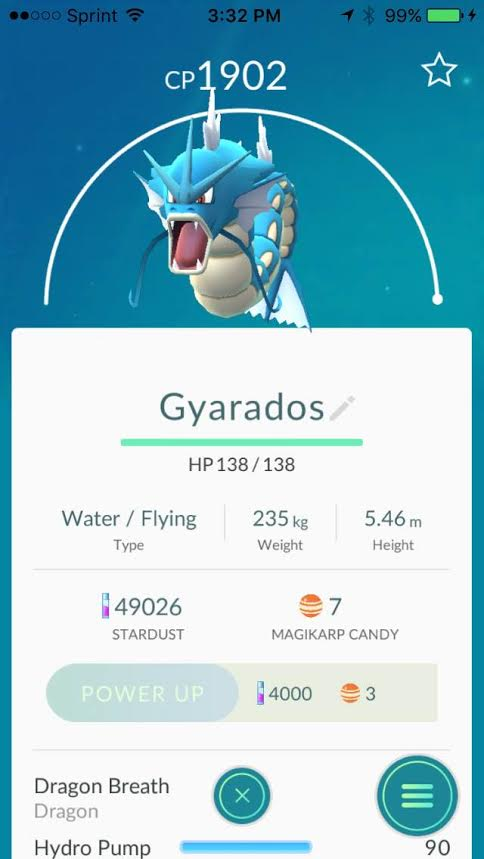 This is Gyarados.  In order to get this guy you need 400 Magicarp candies.  We spent about a total of 6 and a half hours at    Swan Lake    in Tulsa catching these Magicarps to evolve it for Aki.  Good luck on your quest to get this Pokemon.  Photo by    Alameda Bail Bonds in Tulsa.