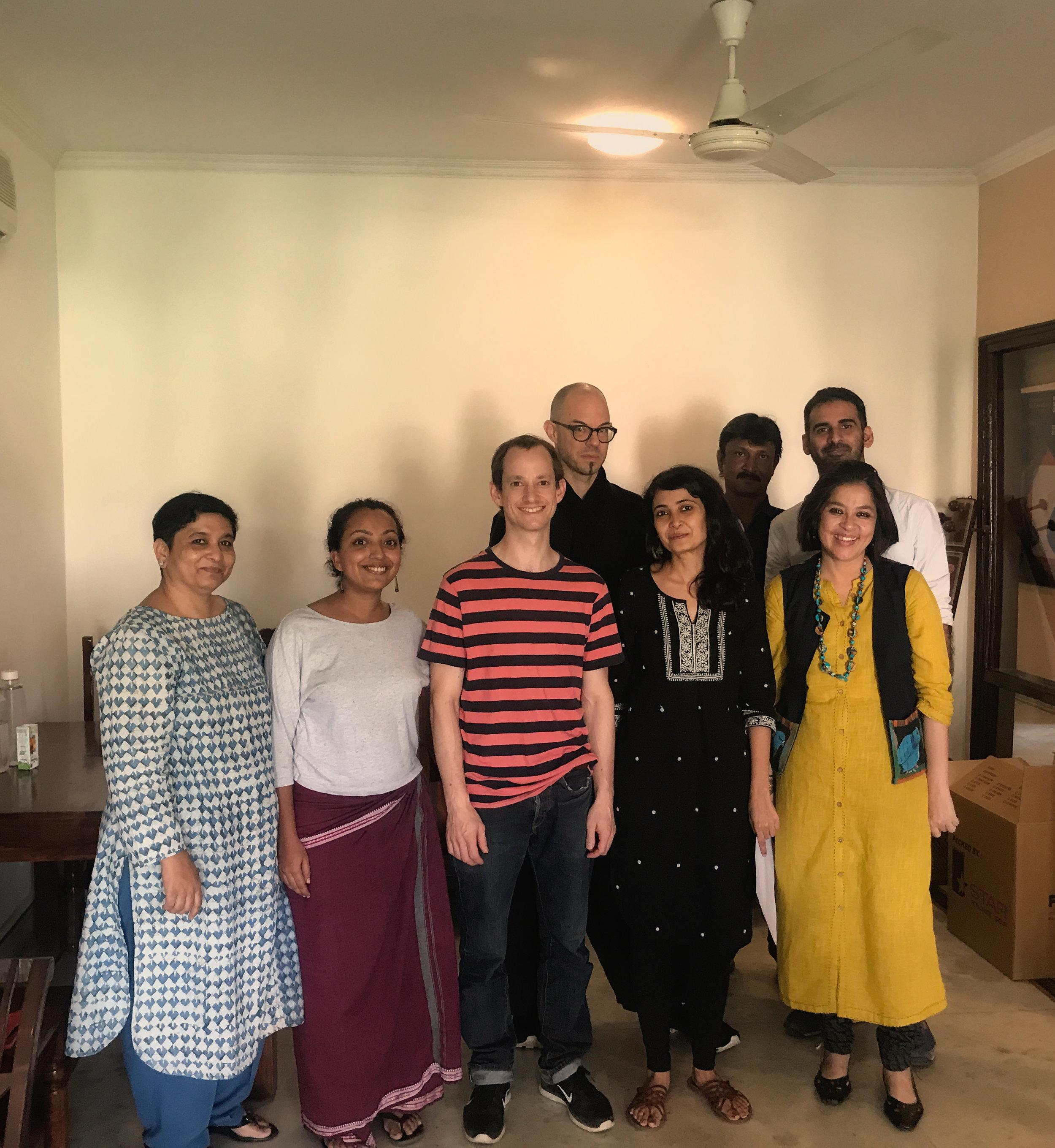 At the ProHelvetia Office in New Delhi (in the back: Nik Bärtsch, Puneet Kumar, Akshay Pathak/ in the front: Sangeeta Rana, Tanima Maniktala, Lukas Baumgartner, Sadaf Raza, Minhazz Mazumdar)