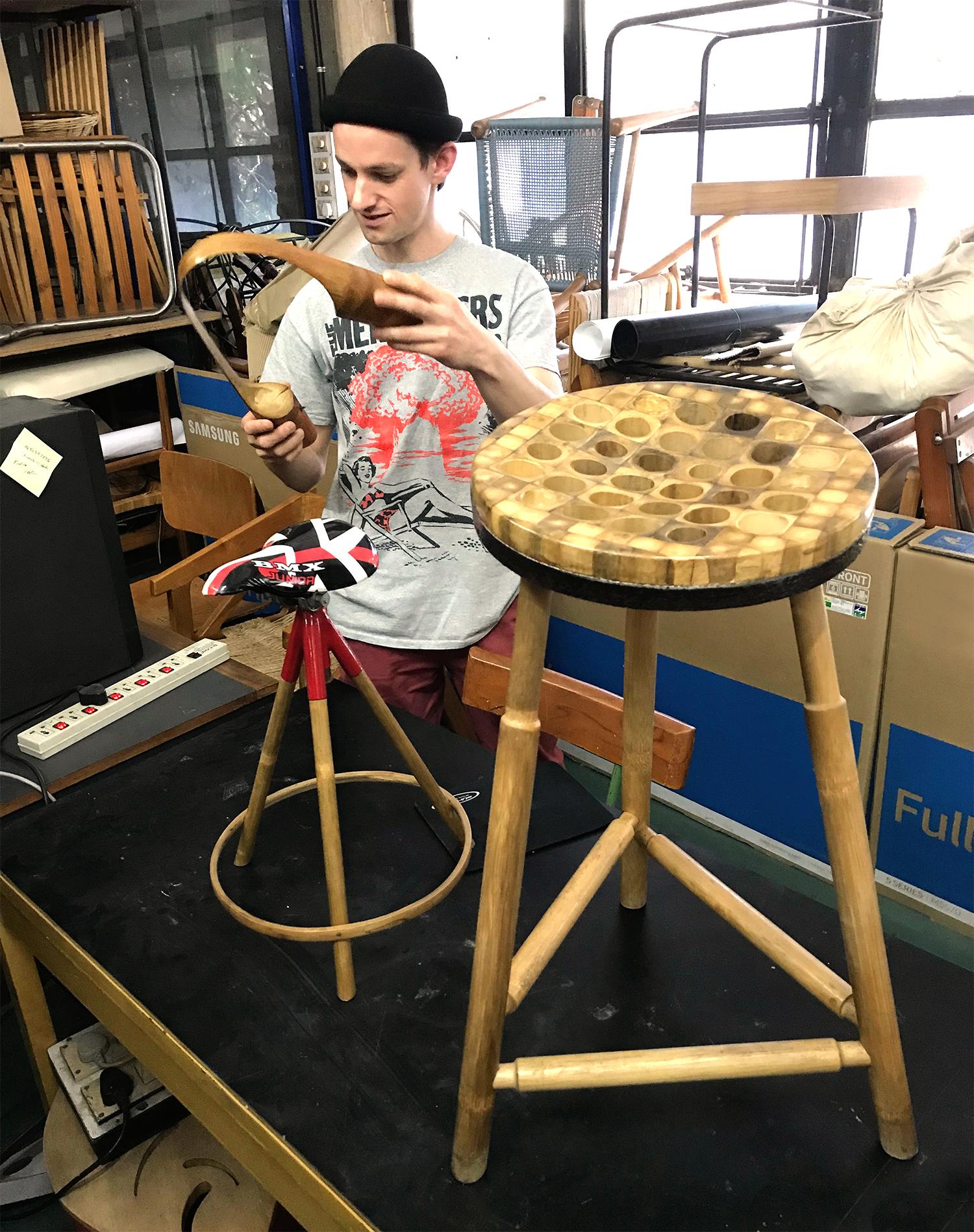 inspecting bamboo prototypes