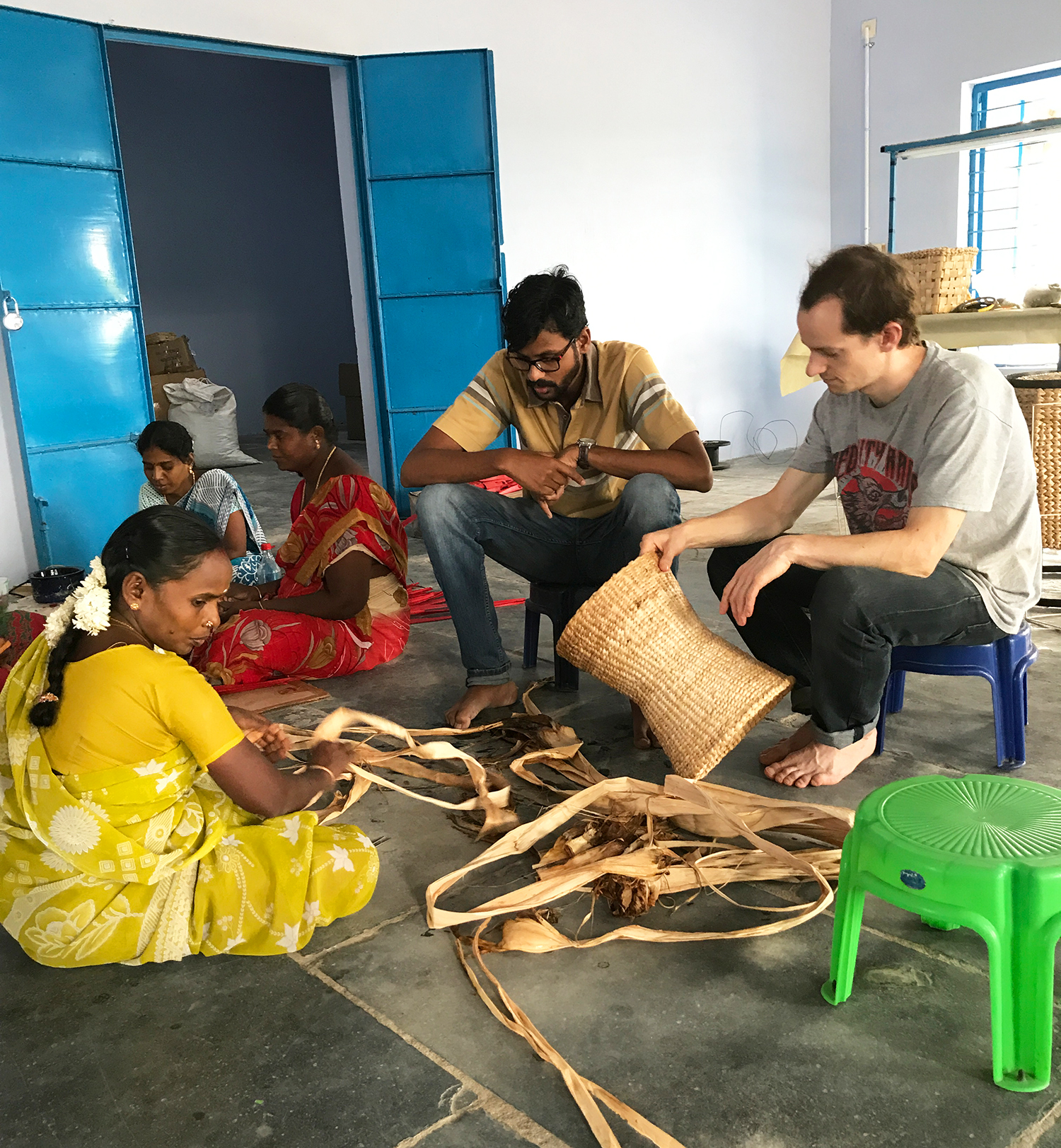 Discussing ideas with Prasanna and the artisans.