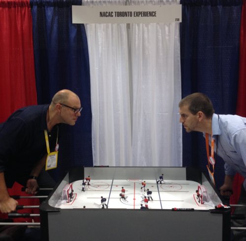 Intense foos-hockey action at NACAC.