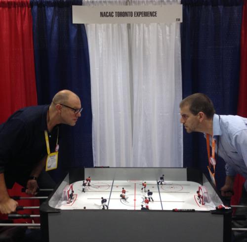 Intense foos-hockey action at NACAC.