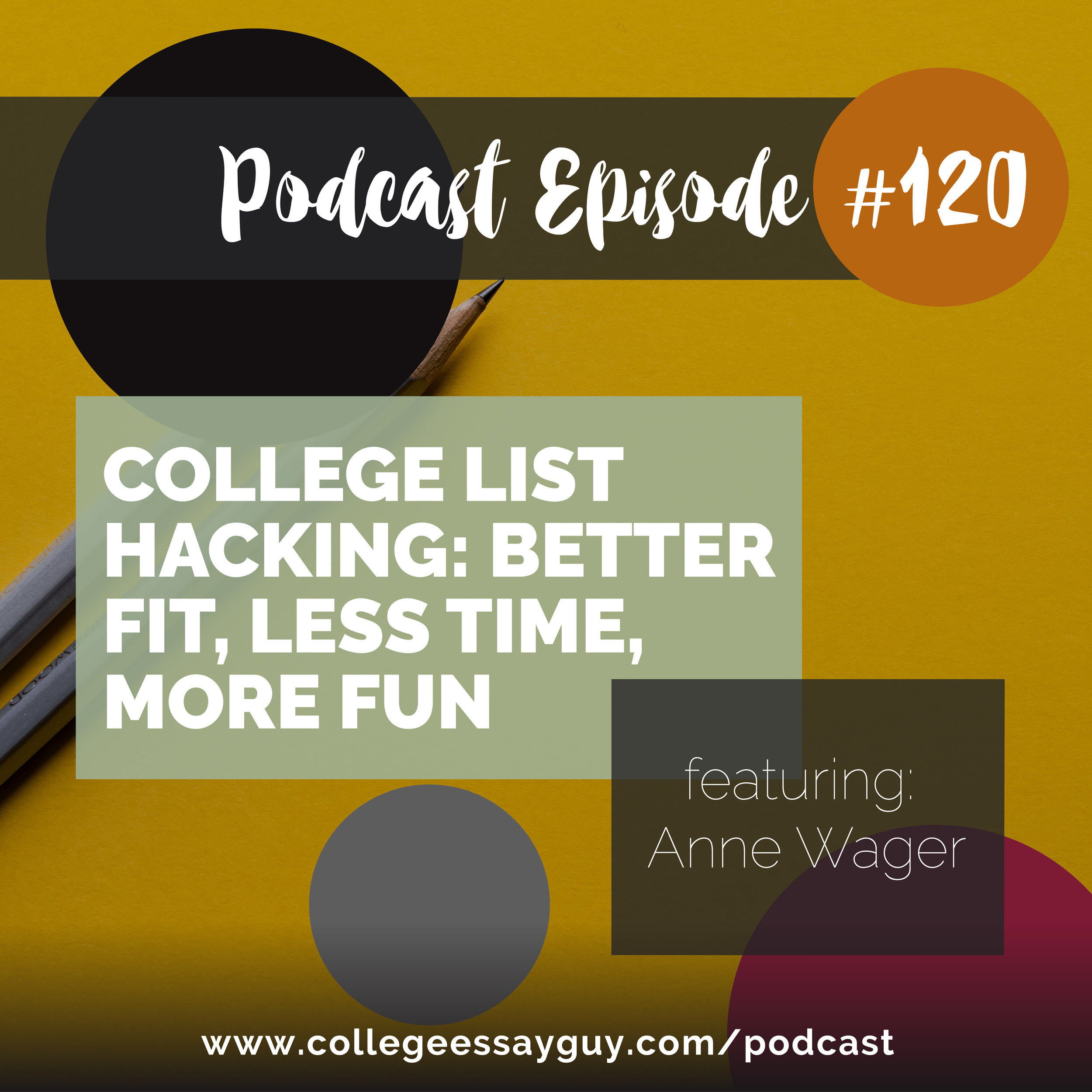 "On this episode I interview Anne Wager, who used to work for many years in data and technology but made the transition to counseling and, as she puts it, ""out of desperation"", developed a set of cards that she uses with students to help them identify, not just their preferences for what they're looking for in a college, but what she called ""deeper preferences""."