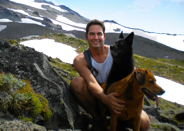 Greg Jamiel with Duncan and Griffen, climbing up the North Face of Mt. Hood.
