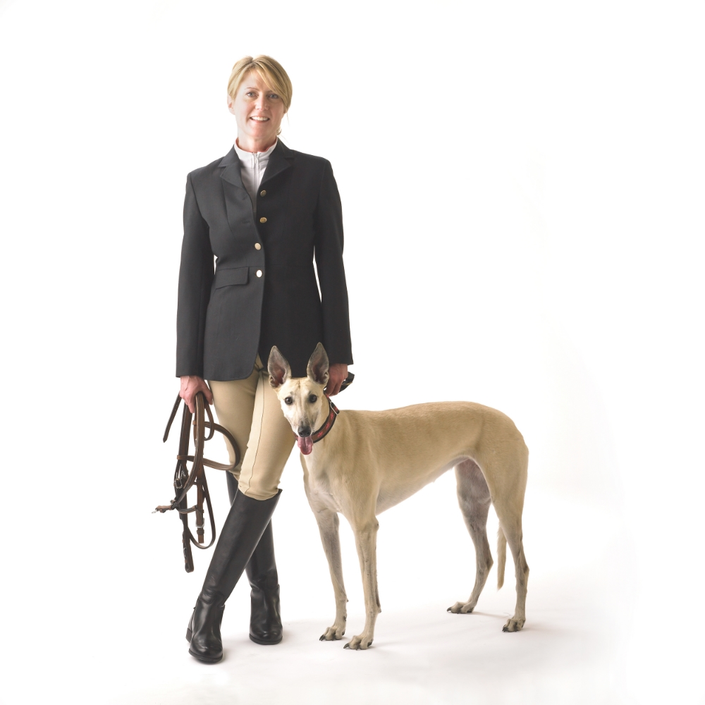 Elaine Rogers & her rescued greyhound.  Hornick/Rivlin photography