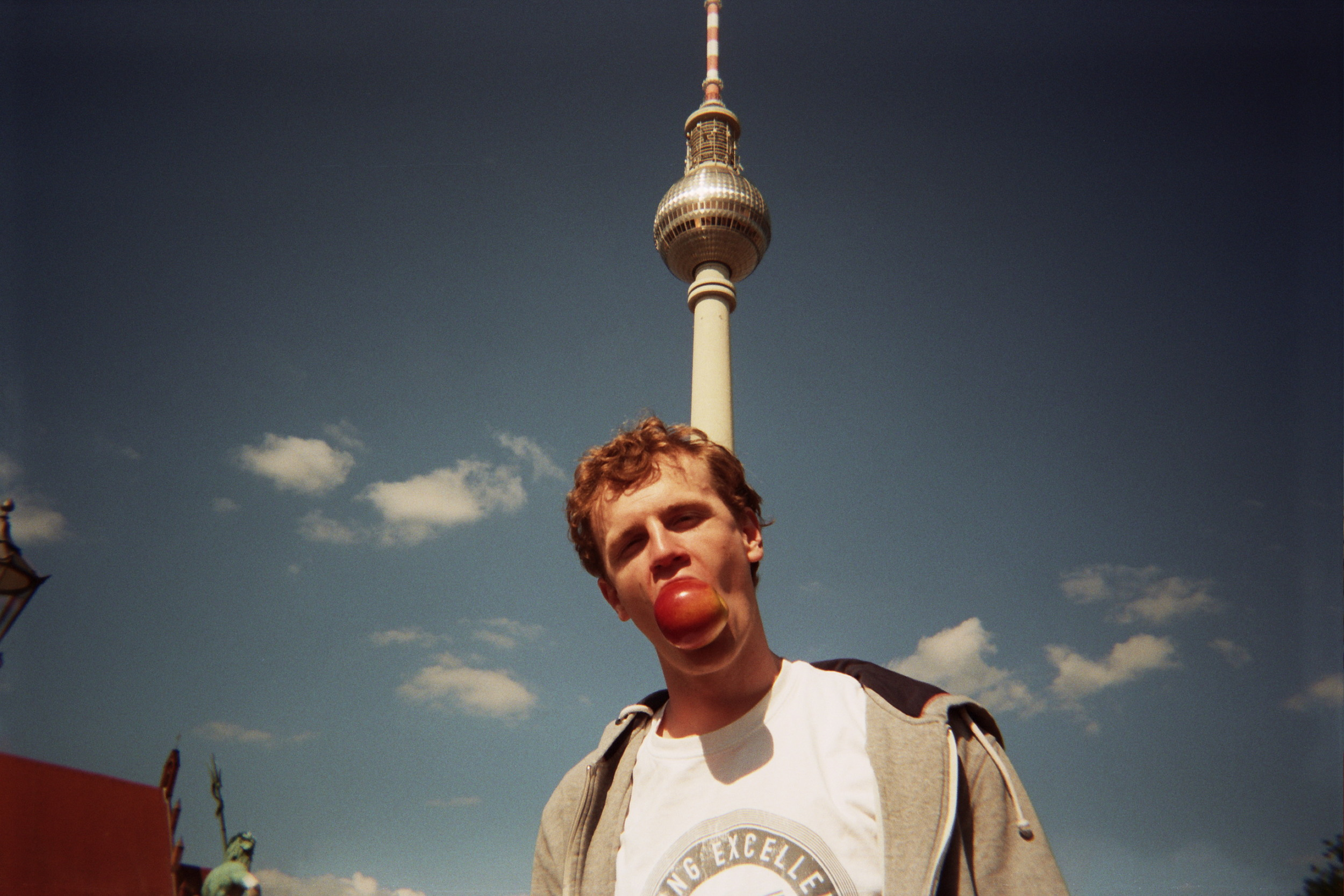 Not forgetting the famous Berlin TV Tower. And oh, put this apple in your mouth, will you?