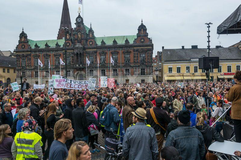 """Refugees Welcome"" demonstration in Malmö, Sweden. Picture: demotix.com"