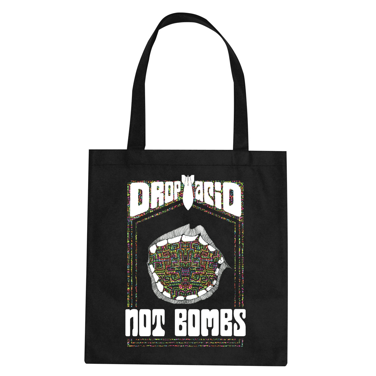Drop Acid Not Bombs tote bag  €14.99 Available in black