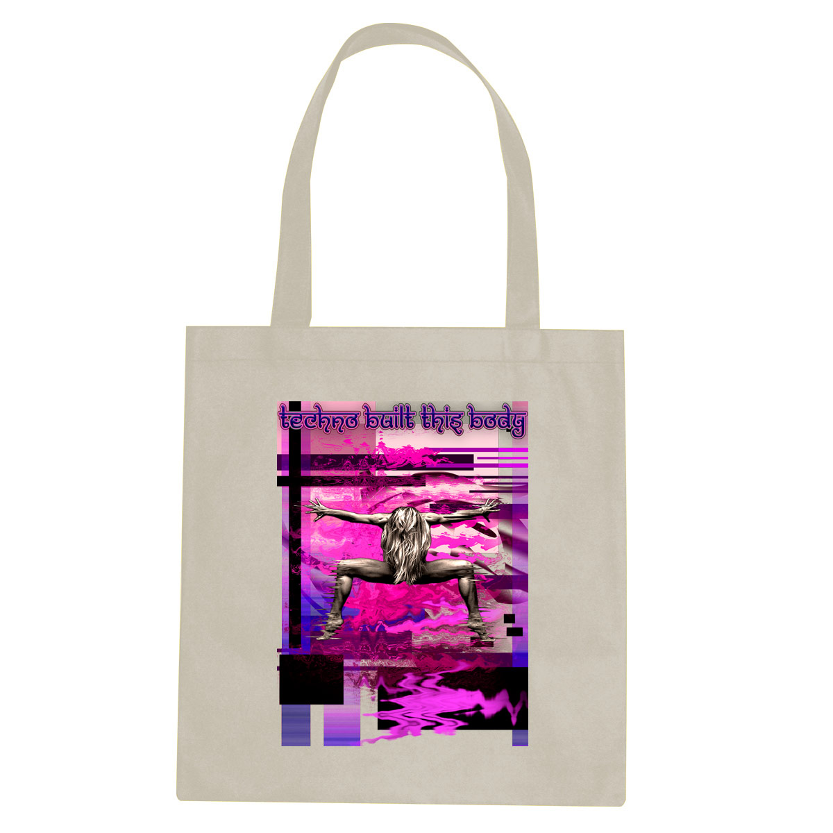 Techno Built This Body tote bag  €14.99 Available in natural, black