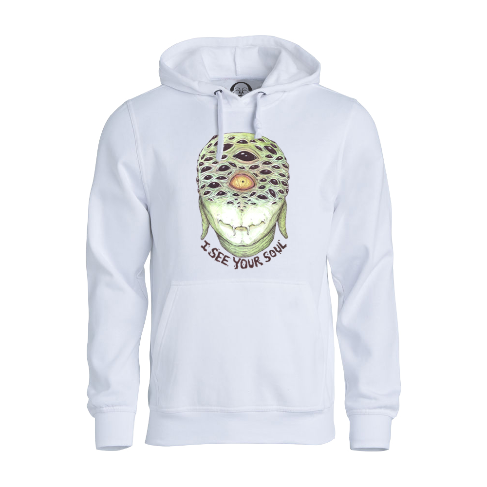 I See Your Soul hoodie  €34.99 Available in white, black, dark grey
