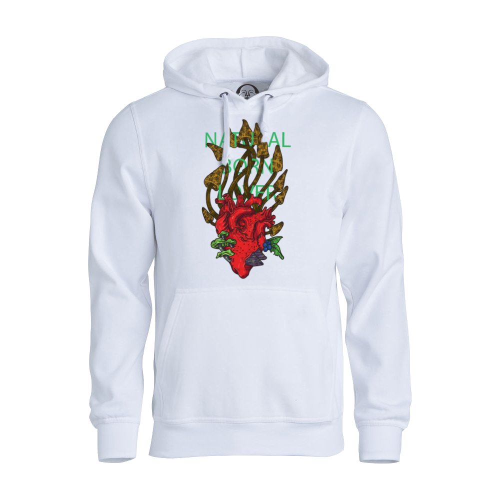 Natural Born Lover hoodie  €34.99 Available in white
