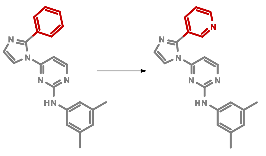 Matched Pair example with the fragment coloured in red and the common core in gray.