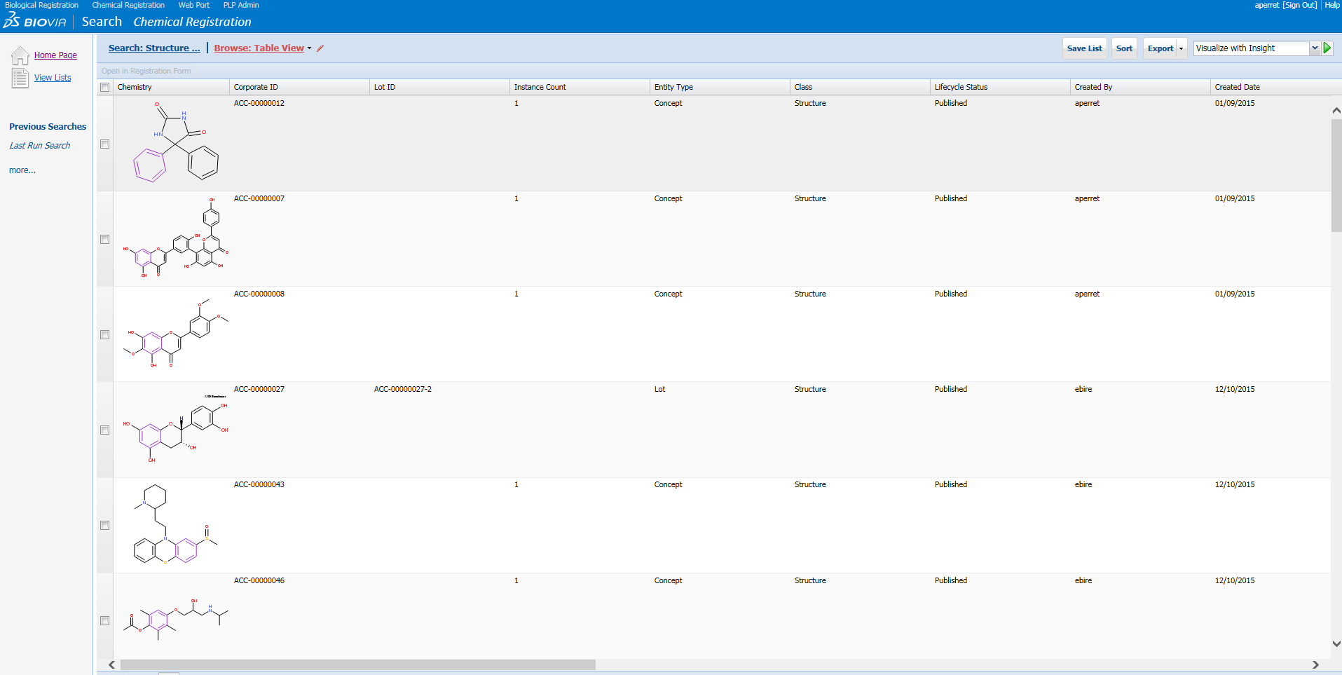Display of a search by substructure in the registration database.