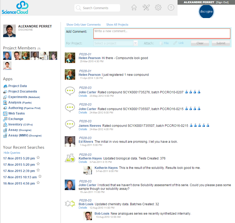 ScienceCloud home page with available apps (on the left) and a social platform (on the right).