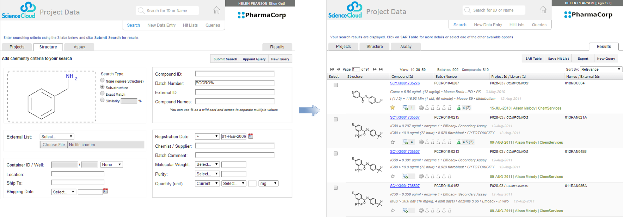 Query form and result window following a registration in the Project Data application.