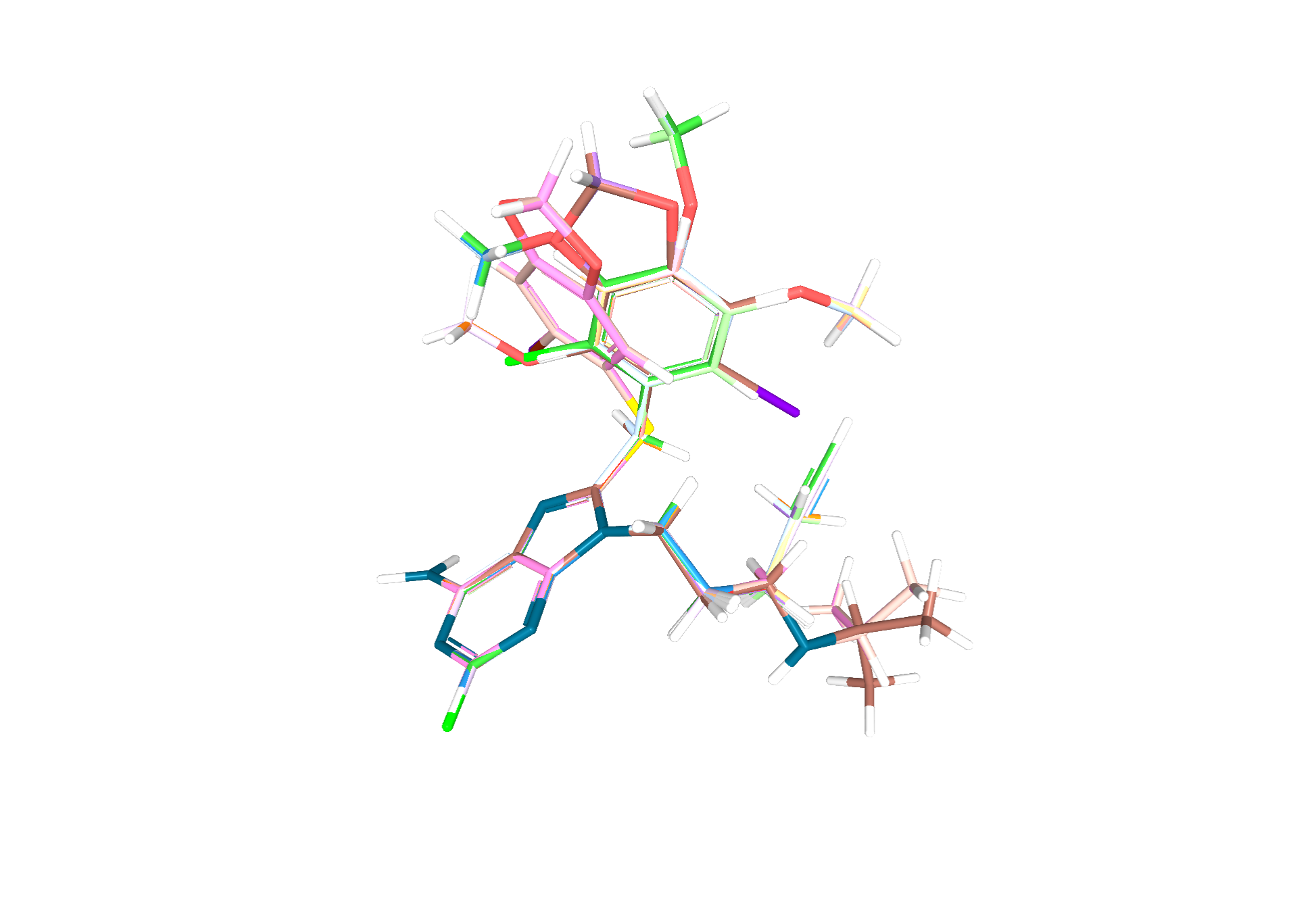 Final aligned and minimized molecules - all adenins are perfectly aligned and even other parts of the molecule are as well, if the MCS was bigger than the adenine fragment.