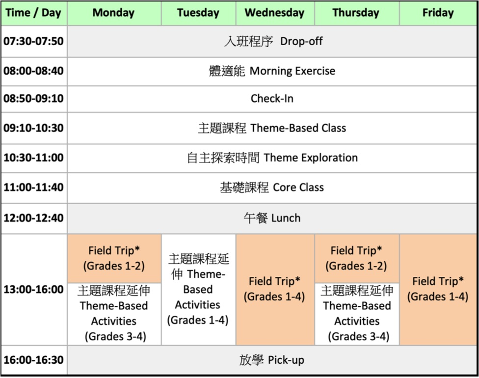 *Field Trip: Offsite activity to be confirmed based on number of visiting students. Possible options include art studio visit + activity, Taipei Zoo tour, etc.