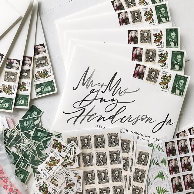 wouldn't this envelope make you smile? 📬 ever so thoughtful stamp curation for a Vermont wedding at the Lincoln family home. 🎩 #brushlettering #vermontwedding #stamplove