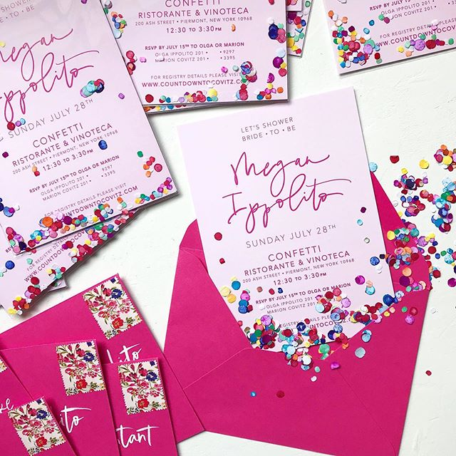 tiny bits of colorful paper spark so much joy! we added a pop of confetti to each invitation secured in clear cellophane . . . Megan's shower will be quite the celebration! 🎉 #willtravelforpink #confetti #bridalshower