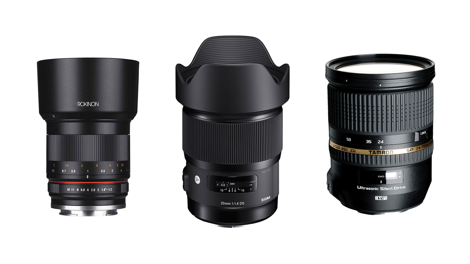 Rokinon 50mm f/1.4, Sigma 21mm f/1.4 and Tamron 24-70mm f/2.8 VC