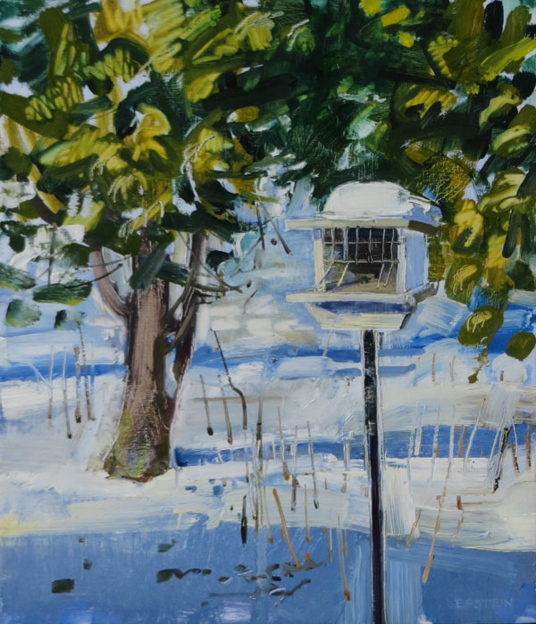 Bird Feeder with Snow